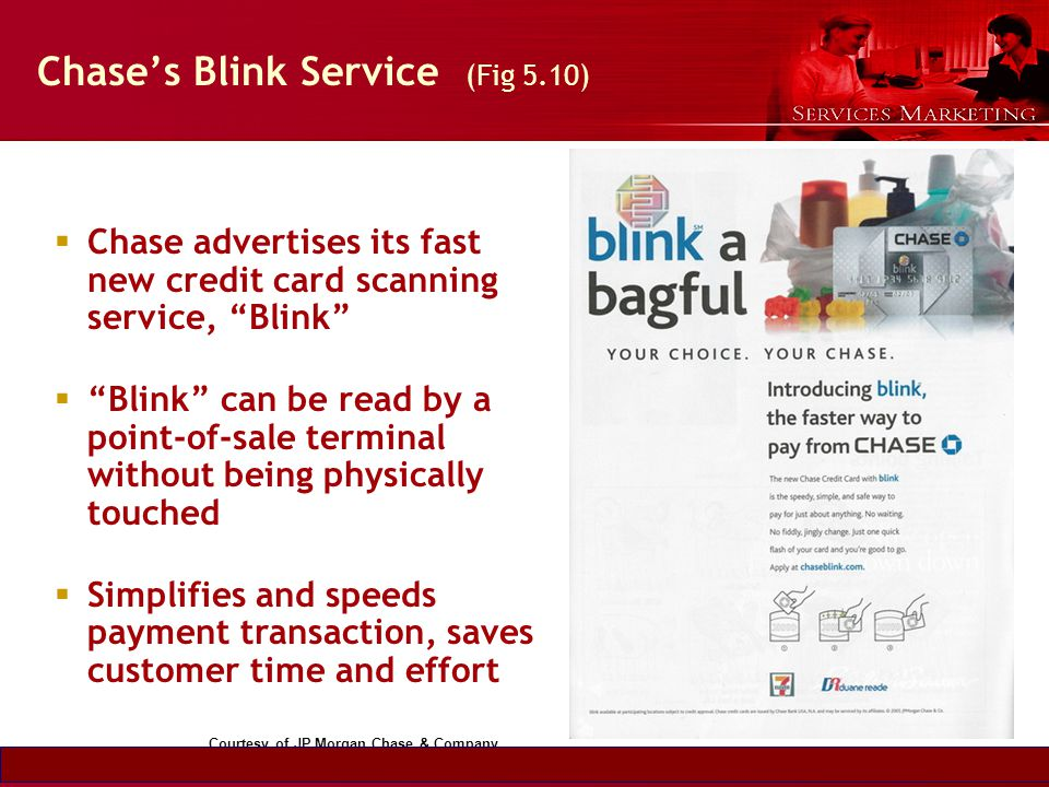Slide © 2007 by Christopher Lovelock and Jochen Wirtz Services Marketing 6/E Chapter 5 - 32 Chases Blink Service (Fig 5.10) Chase advertises its fast