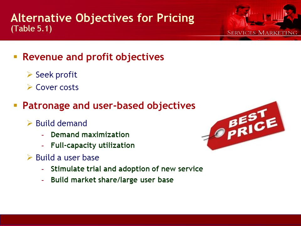 Slide © 2007 by Christopher Lovelock and Jochen Wirtz Services Marketing 6/E Chapter 5 - 5 Alternative Objectives for Pricing (Table 5.1) Revenue and