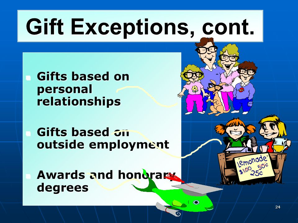 You may accept gifts (other than cash or investment interests) up to $20 per occasion, if the aggregate market value received from one source under th