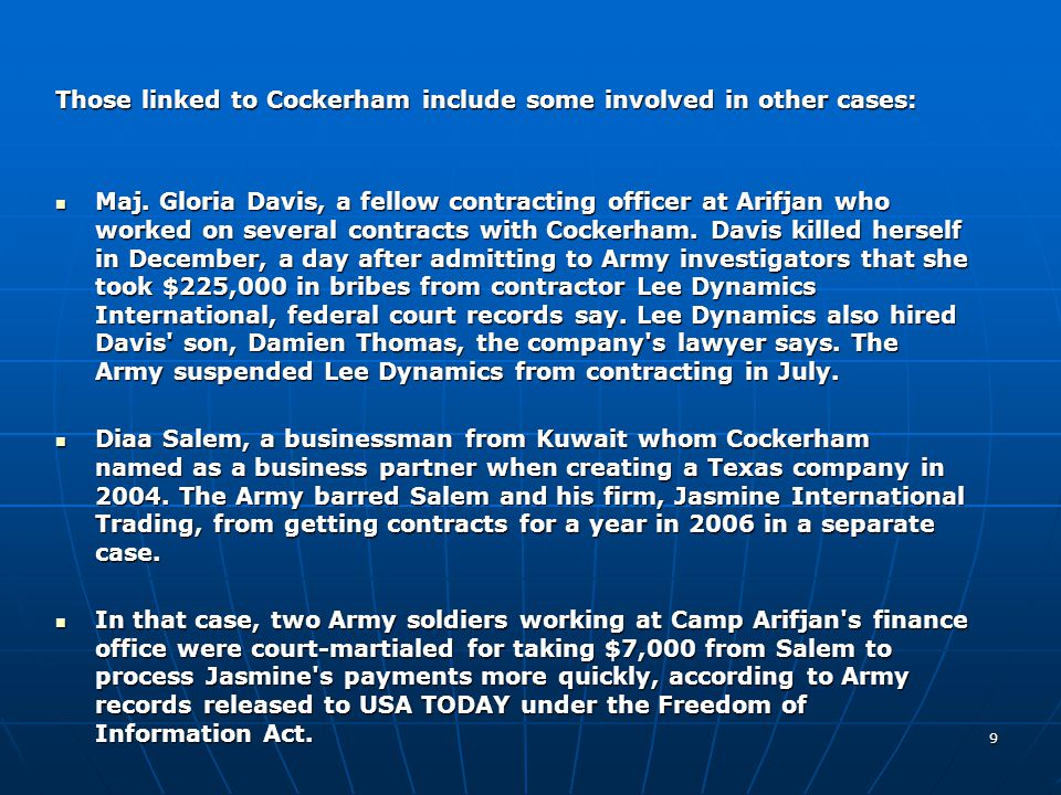 Those linked to Cockerham include some involved in other cases: Maj.