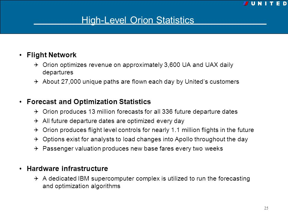25 Flight Network Orion optimizes revenue on approximately 3,600 UA and UAX daily departures About 27,000 unique paths are flown each day by Uniteds c