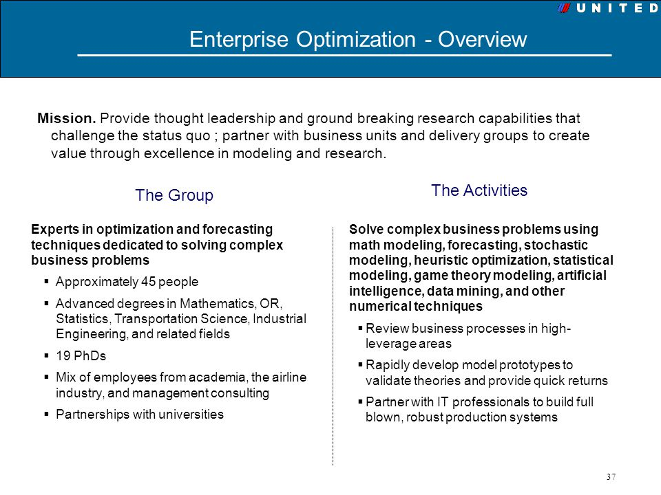 37 Experts in optimization and forecasting techniques dedicated to solving complex business problems Approximately 45 people Advanced degrees in Mathe