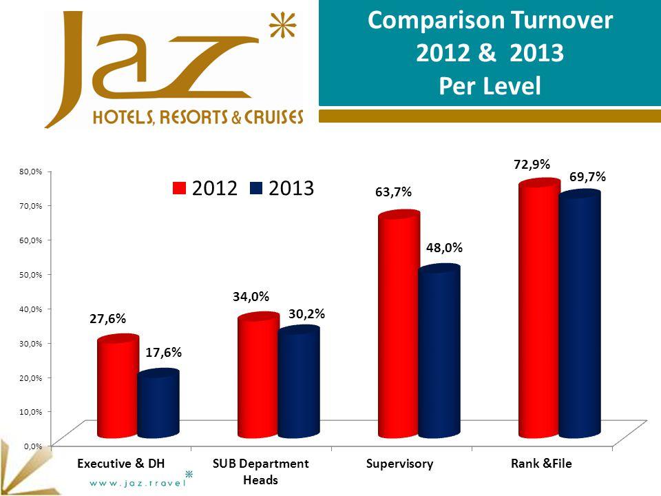 Comparison Turnover 2012 & 2013 Per Level