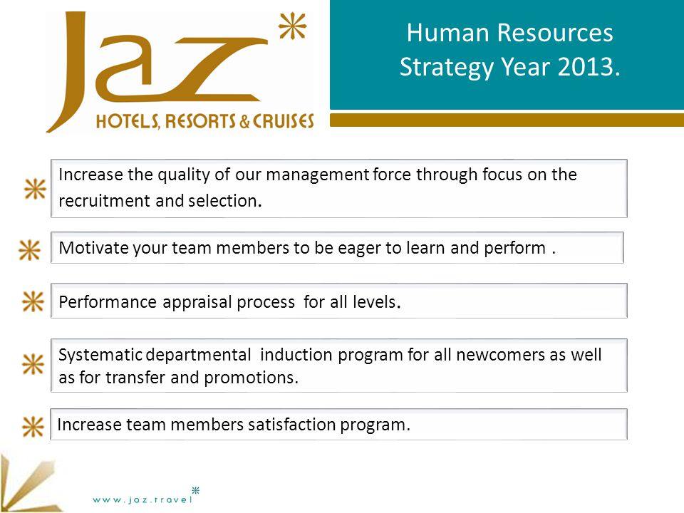 Human Resources Strategy Year 2013. Performance appraisal process for all levels.