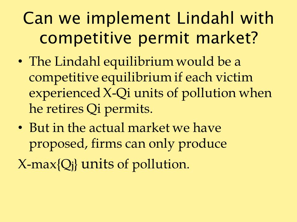 Can we implement Lindahl with competitive permit market.