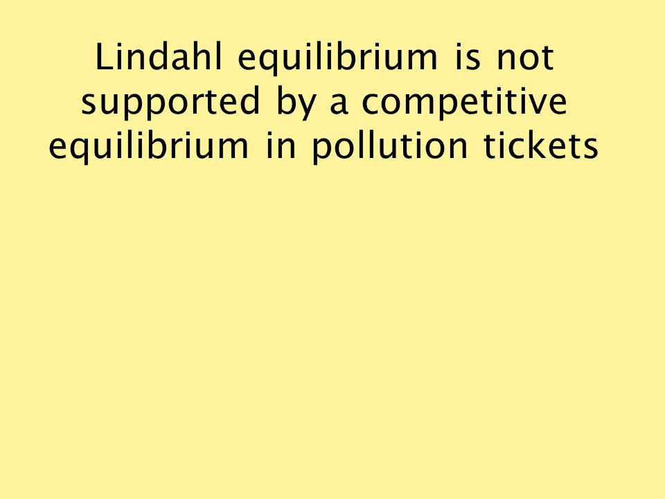 Lindahl equilibrium is not supported by a competitive equilibrium in pollution tickets