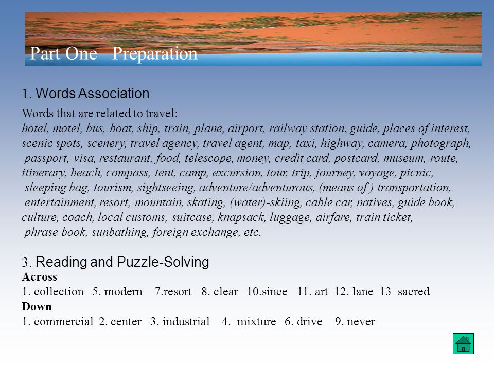 Unit 9 The Joy of Travel Supplementary Information