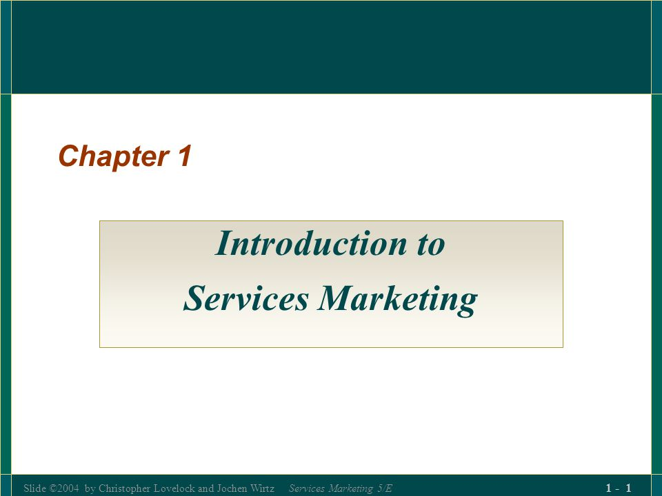 Slide ©2004 by Christopher Lovelock and Jochen Wirtz Services Marketing 5/E 1 - 182 The Purpose of Service Environments The service environment influences buyer behaviour in 3 ways Message-creating Medium: symbolic cues to communicate the distinctive nature and quality of the service experience.