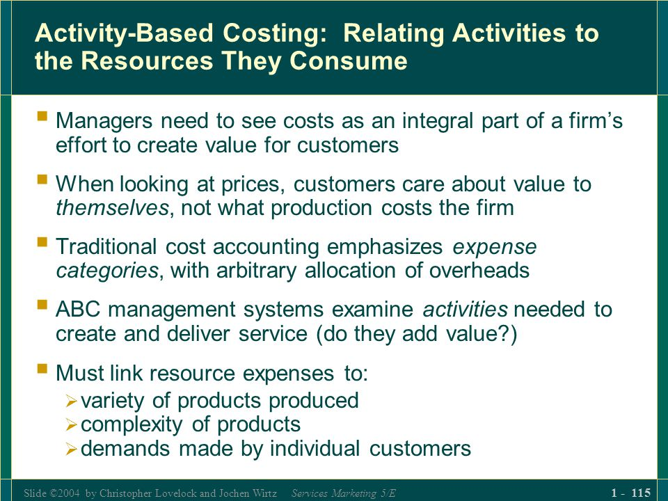 Slide ©2004 by Christopher Lovelock and Jochen Wirtz Services Marketing 5/E 1 - 115 Activity-Based Costing: Relating Activities to the Resources They