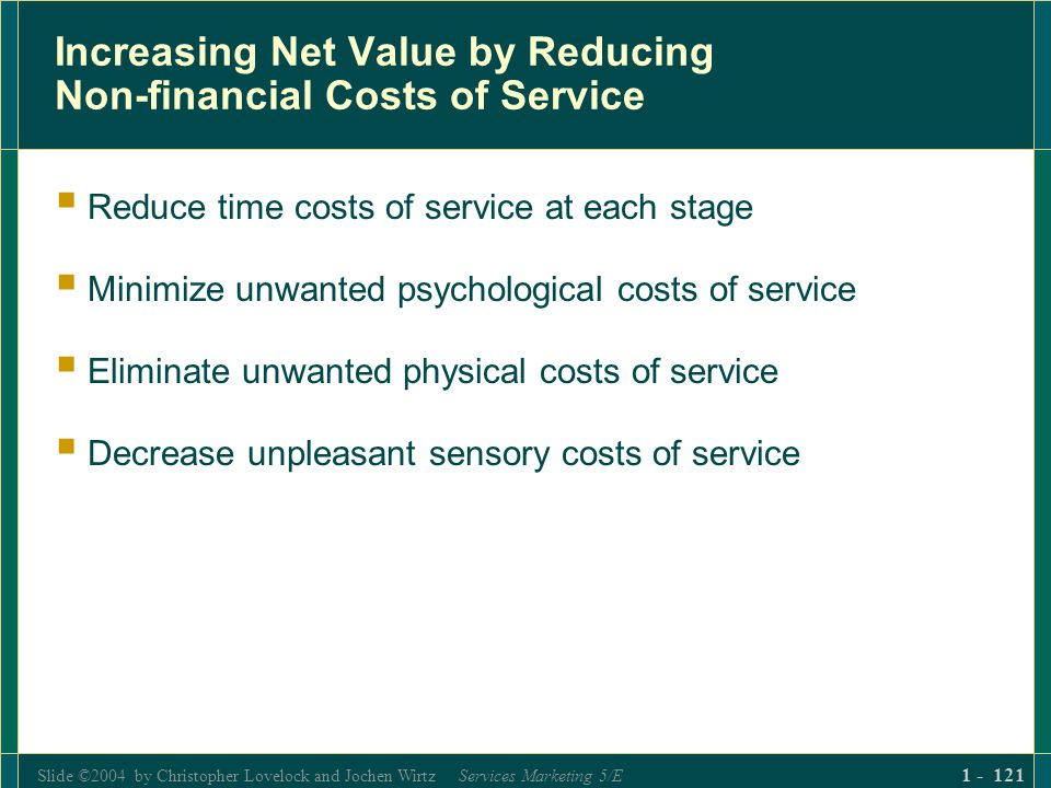 Slide ©2004 by Christopher Lovelock and Jochen Wirtz Services Marketing 5/E 1 - 121 Increasing Net Value by Reducing Non-financial Costs of Service Re