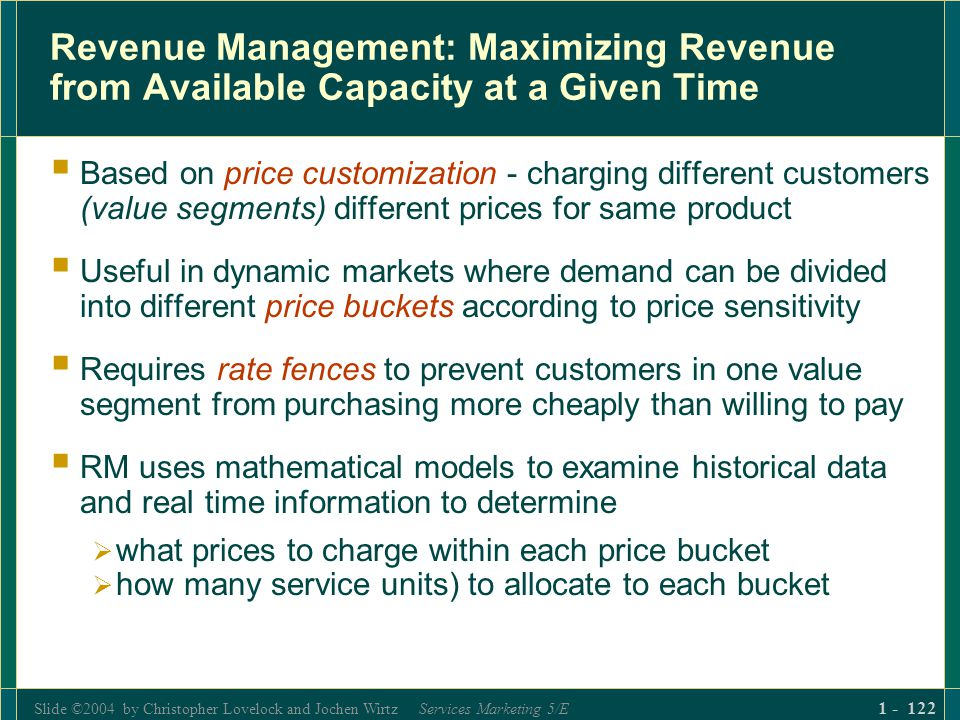 Slide ©2004 by Christopher Lovelock and Jochen Wirtz Services Marketing 5/E 1 - 122 Revenue Management: Maximizing Revenue from Available Capacity at