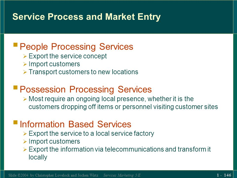 Slide ©2004 by Christopher Lovelock and Jochen Wirtz Services Marketing 5/E 1 - 146 Service Process and Market Entry People Processing Services Export