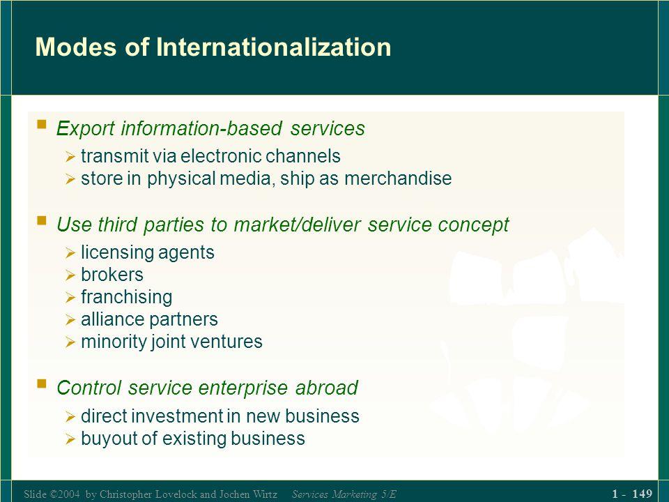 Slide ©2004 by Christopher Lovelock and Jochen Wirtz Services Marketing 5/E 1 - 149 Modes of Internationalization Export information-based services tr