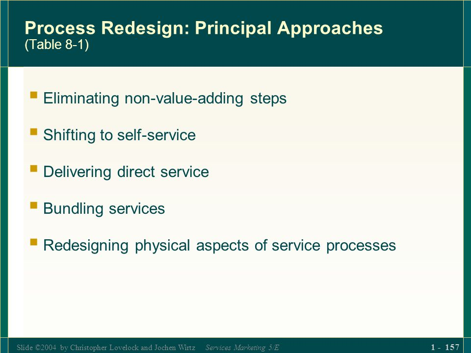 Slide ©2004 by Christopher Lovelock and Jochen Wirtz Services Marketing 5/E 1 - 157 Process Redesign: Principal Approaches (Table 8-1) Eliminating non
