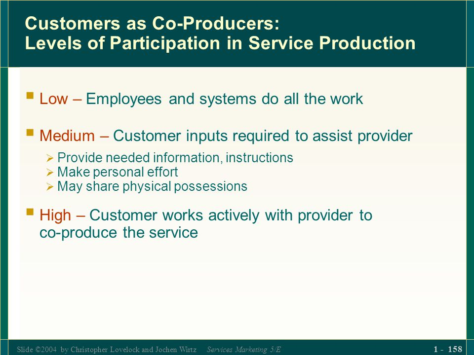 Slide ©2004 by Christopher Lovelock and Jochen Wirtz Services Marketing 5/E 1 - 158 Customers as Co-Producers: Levels of Participation in Service Prod