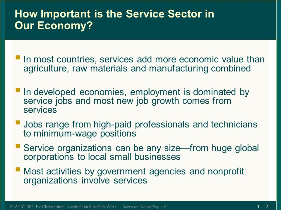 Slide ©2004 by Christopher Lovelock and Jochen Wirtz Services Marketing 5/E 1 - 3 Services dominate the United States Economy: GDP by Industry, 2001 (Fig.