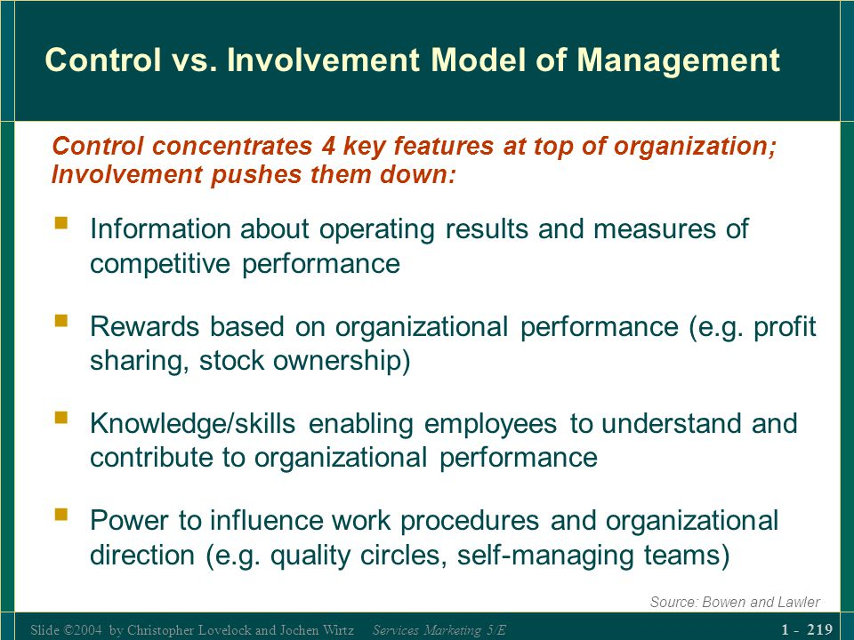 Slide ©2004 by Christopher Lovelock and Jochen Wirtz Services Marketing 5/E 1 - 219 Control vs. Involvement Model of Management Information about oper