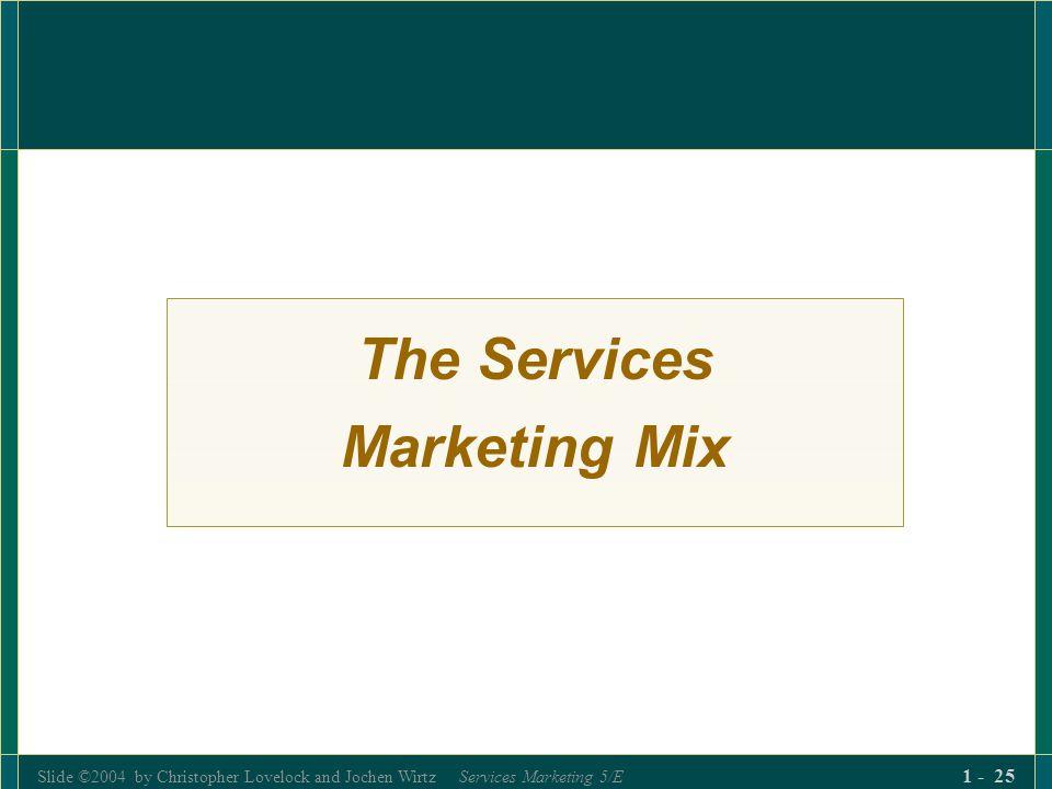 Slide ©2004 by Christopher Lovelock and Jochen Wirtz Services Marketing 5/E 1 - 25 The Services Marketing Mix