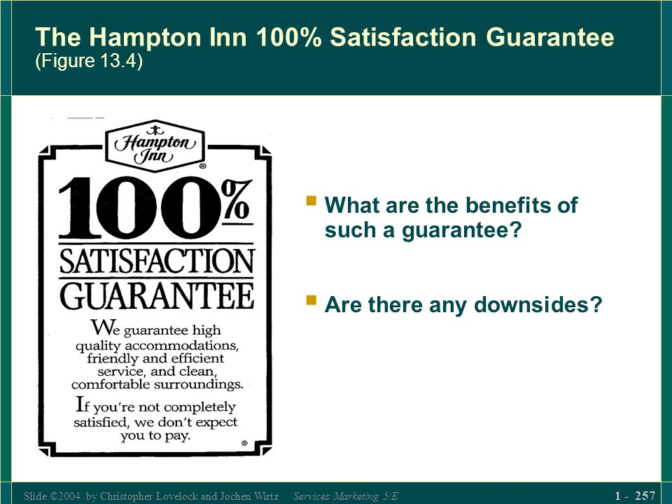 Slide ©2004 by Christopher Lovelock and Jochen Wirtz Services Marketing 5/E 1 - 257 The Hampton Inn 100% Satisfaction Guarantee (Figure 13.4) What are