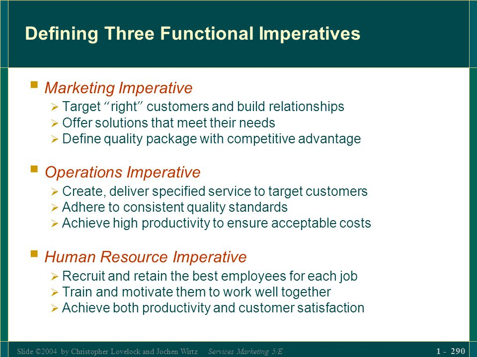Slide ©2004 by Christopher Lovelock and Jochen Wirtz Services Marketing 5/E 1 - 290 Defining Three Functional Imperatives Marketing Imperative Target