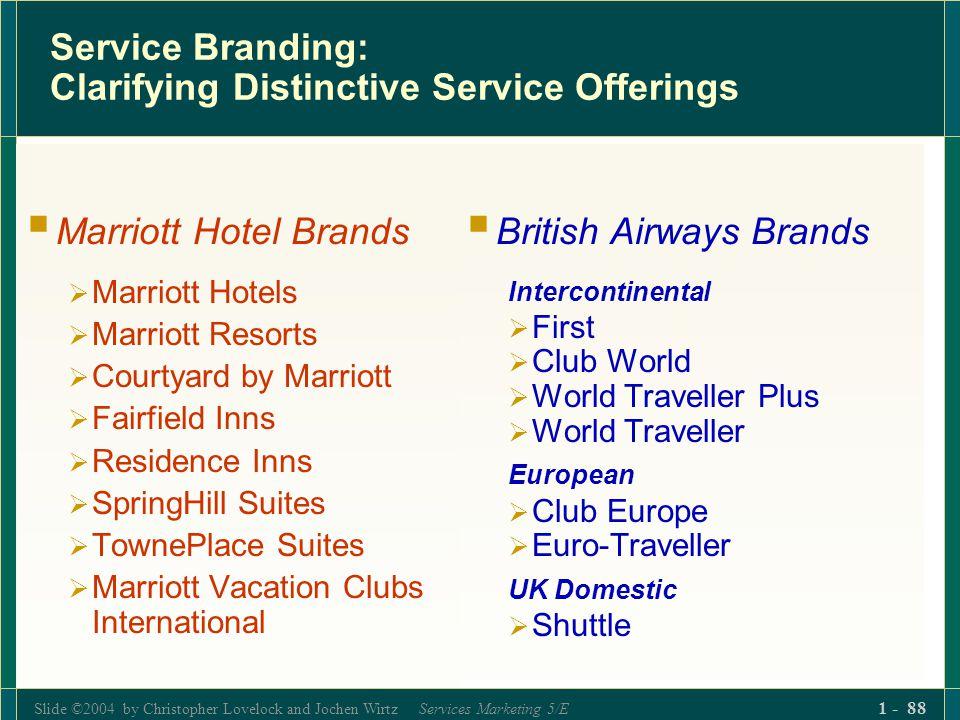 Slide ©2004 by Christopher Lovelock and Jochen Wirtz Services Marketing 5/E 1 - 88 Service Branding: Clarifying Distinctive Service Offerings Marriott