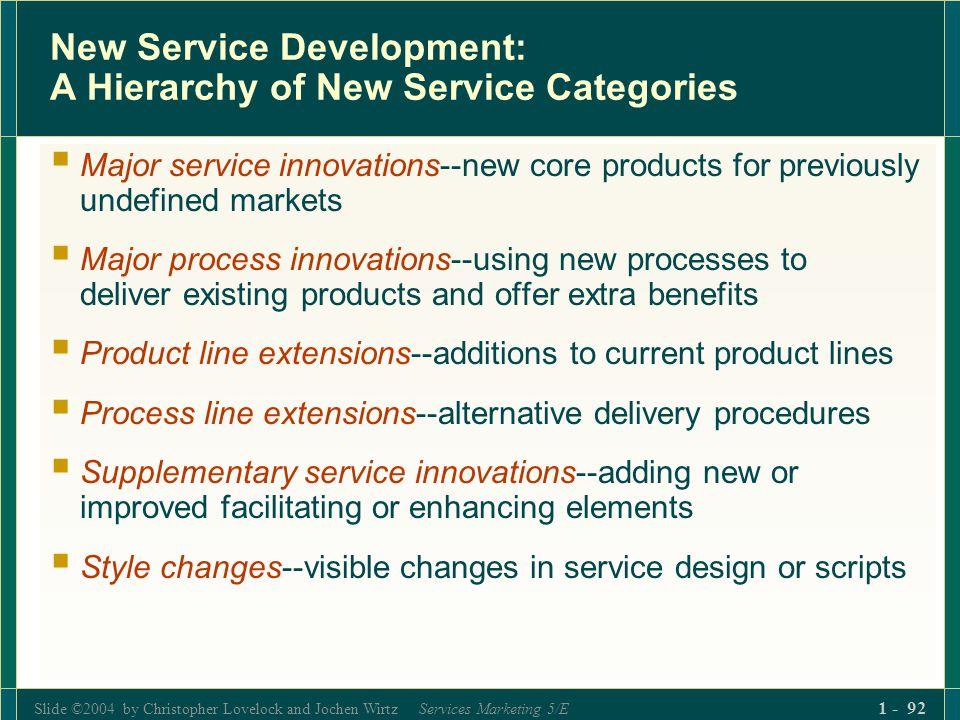 Slide ©2004 by Christopher Lovelock and Jochen Wirtz Services Marketing 5/E 1 - 92 New Service Development: A Hierarchy of New Service Categories Majo