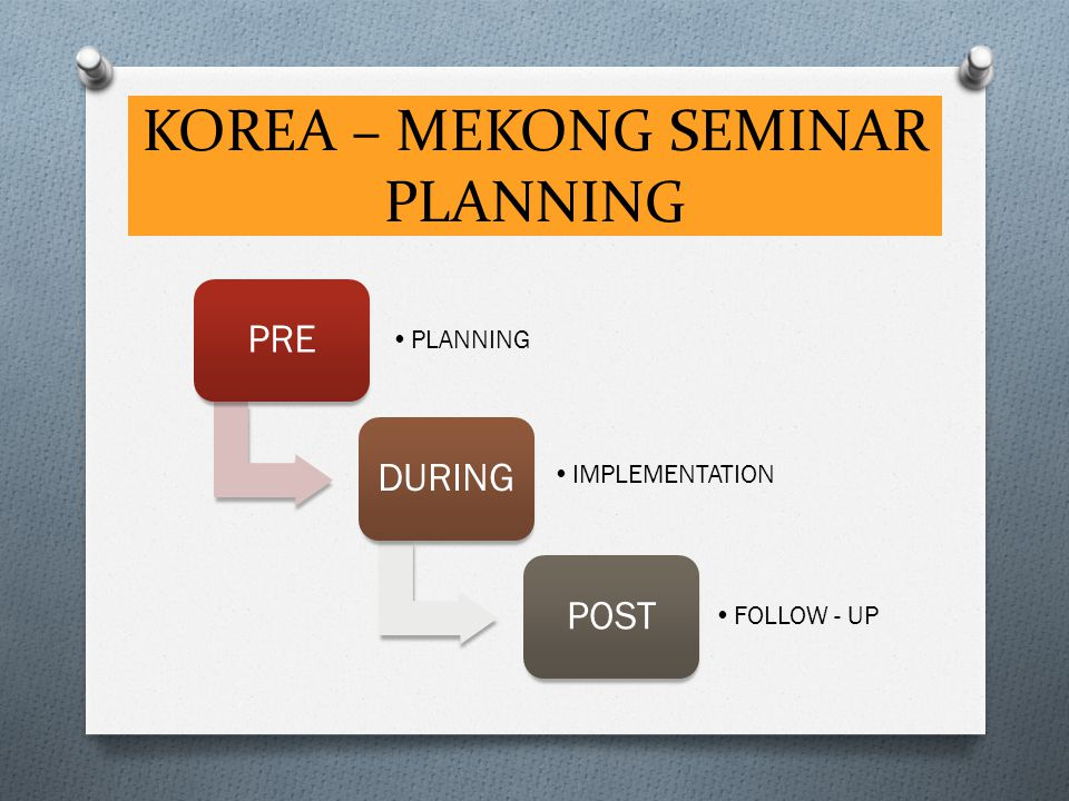 KOREA – MEKONG SEMINAR PLANNING PRE PLANNING DURING IMPLEMENTATION POST FOLLOW - UP