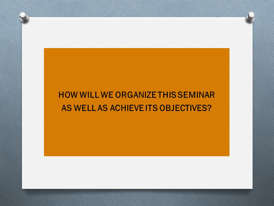 HOW WILL WE ORGANIZE THIS SEMINAR AS WELL AS ACHIEVE ITS OBJECTIVES?
