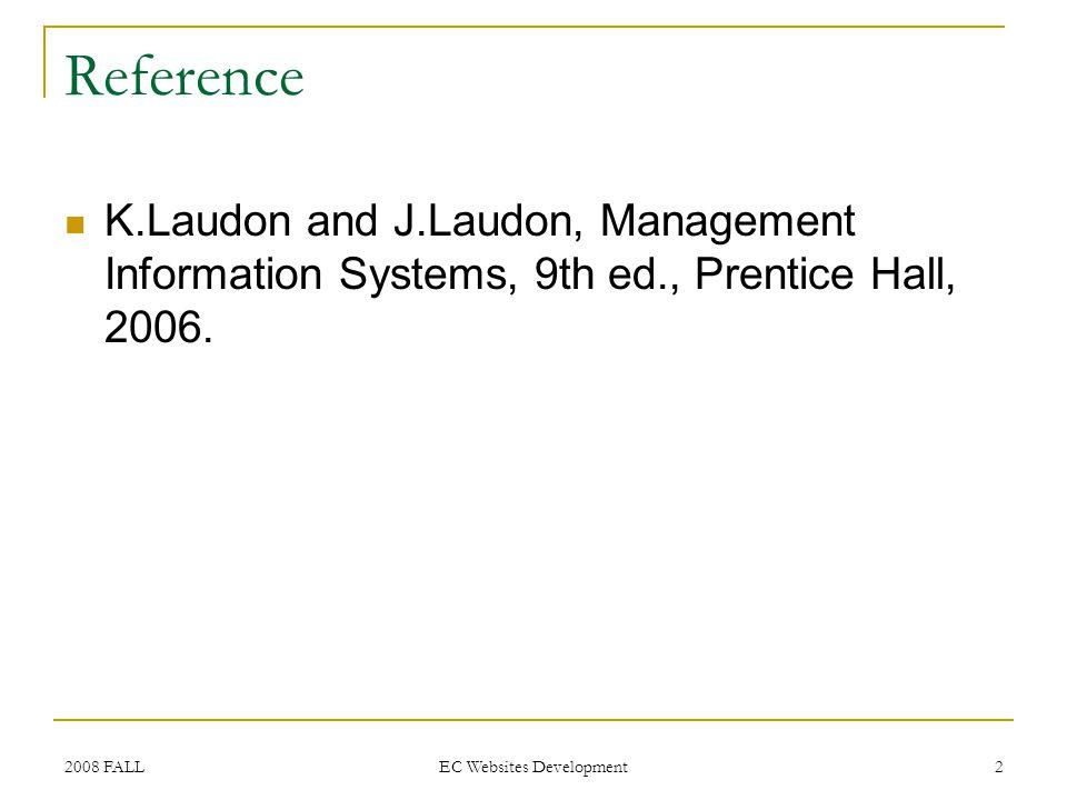 2008 FALL EC Websites Development 3 Business Processes, IS/Websites and IT