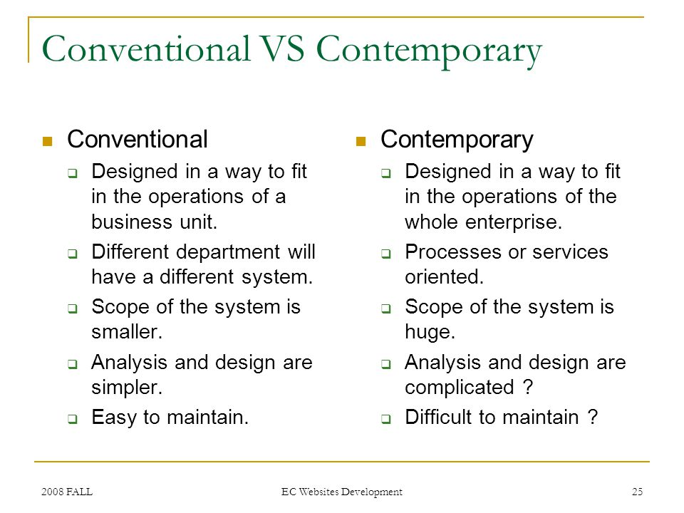 2008 FALL EC Websites Development 25 Conventional VS Contemporary Conventional Designed in a way to fit in the operations of a business unit.