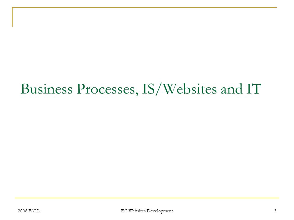 2008 FALL EC Websites Development 3 Business Processes, IS/Websites and IT