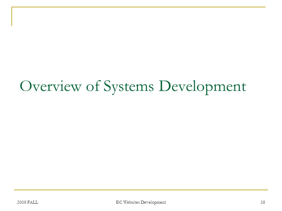 2008 FALL EC Websites Development 38 Overview of Systems Development