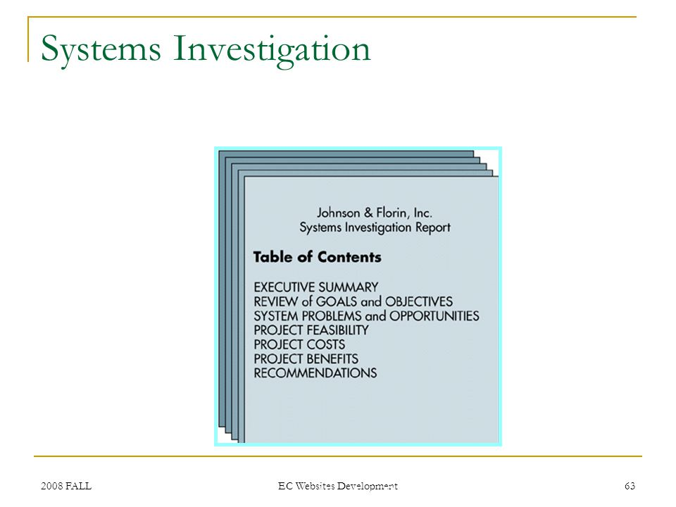 2008 FALL EC Websites Development 63 Table of Contents for a Systems Investigation Report Systems Investigation