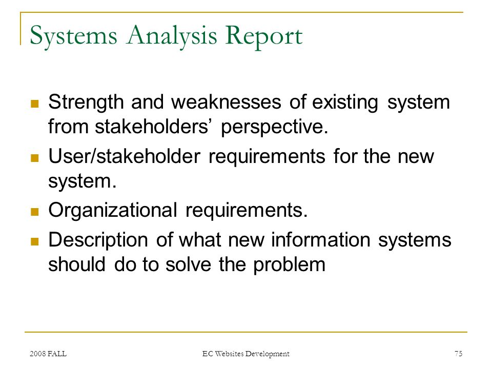 2008 FALL EC Websites Development 75 Systems Analysis Report Strength and weaknesses of existing system from stakeholders perspective.