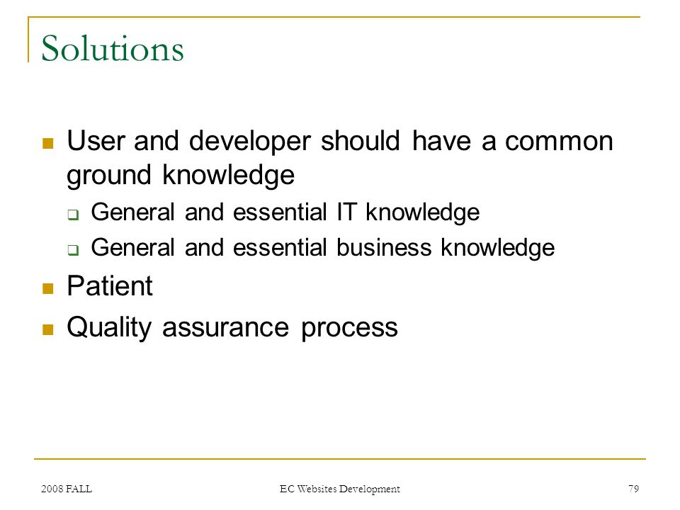 2008 FALL EC Websites Development 79 Solutions User and developer should have a common ground knowledge General and essential IT knowledge General and