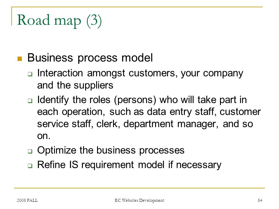 2008 FALL EC Websites Development 84 Road map (3) Business process model Interaction amongst customers, your company and the suppliers Identify the roles (persons) who will take part in each operation, such as data entry staff, customer service staff, clerk, department manager, and so on.