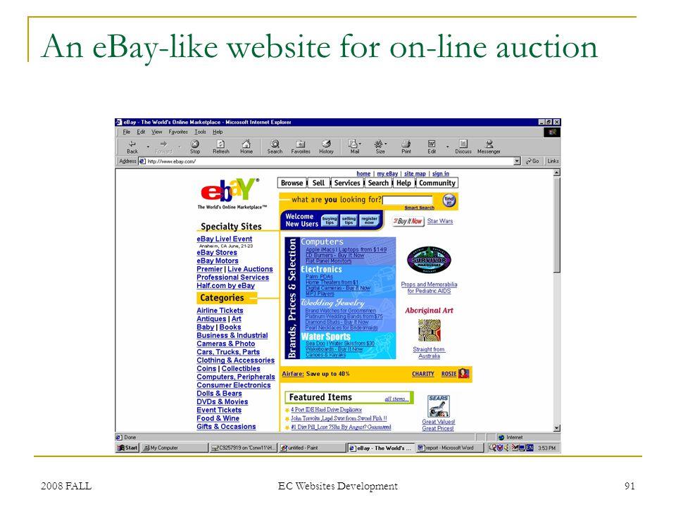 2008 FALL EC Websites Development 91 An eBay-like website for on-line auction