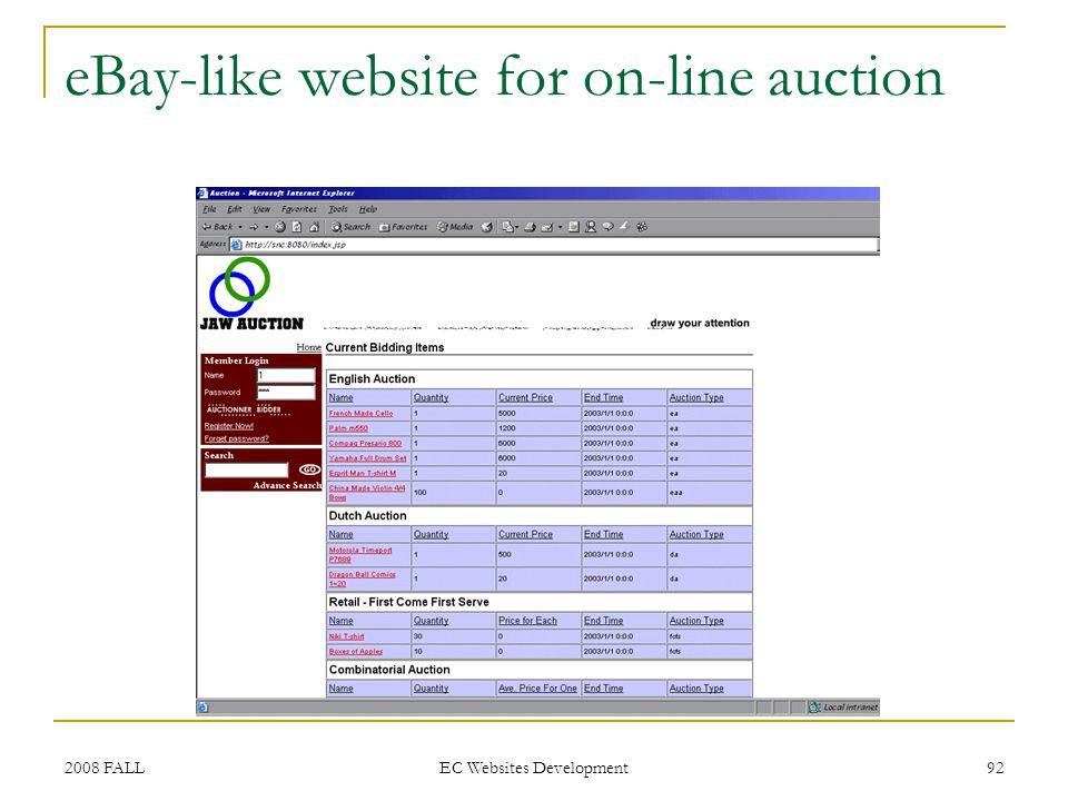2008 FALL EC Websites Development 92 eBay-like website for on-line auction