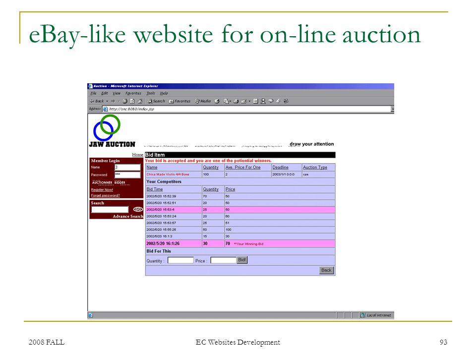 2008 FALL EC Websites Development 93 eBay-like website for on-line auction