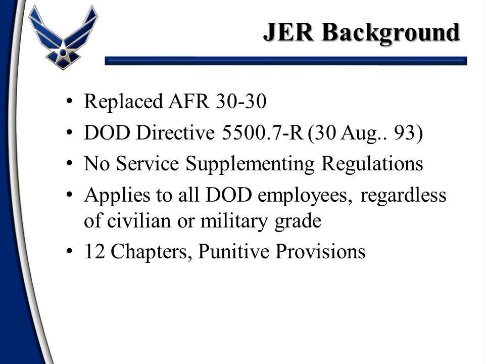 Replaced AFR 30-30 DOD Directive 5500.7-R (30 Aug..