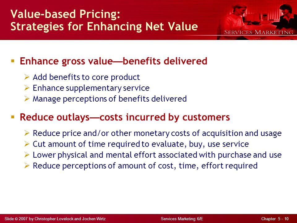 Slide © 2007 by Christopher Lovelock and Jochen Wirtz Services Marketing 6/E Chapter 5 - 10 Value-based Pricing: Strategies for Enhancing Net Value En