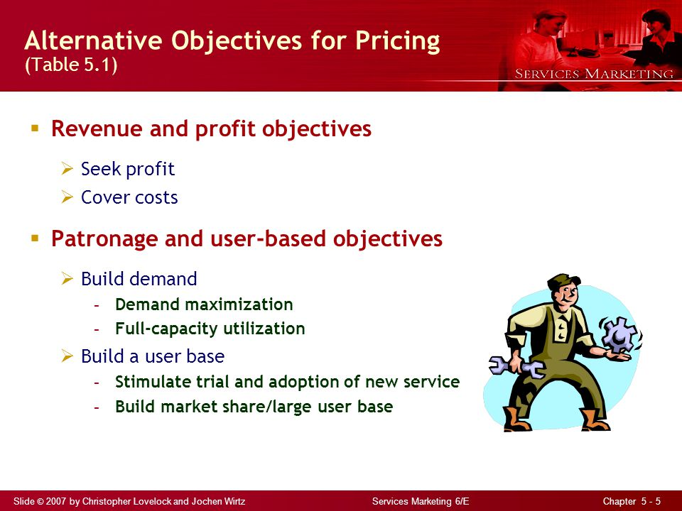 Slide © 2007 by Christopher Lovelock and Jochen Wirtz Services Marketing 6/E Chapter 5 - 6 The Pricing Tripod Fig 5.1 Pricingstrategy Costs Competition Value to customer