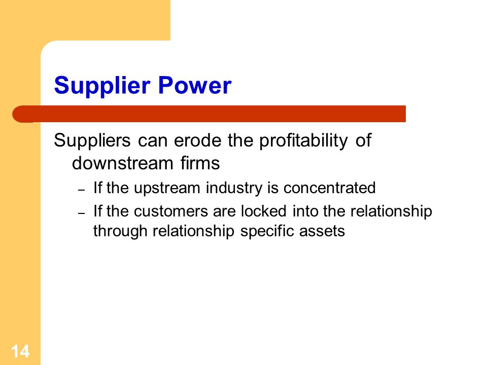 14 Supplier Power Suppliers can erode the profitability of downstream firms – If the upstream industry is concentrated – If the customers are locked i