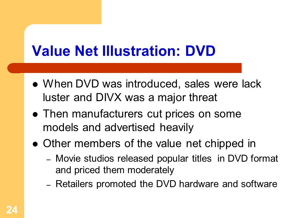 24 Value Net Illustration: DVD When DVD was introduced, sales were lack luster and DIVX was a major threat Then manufacturers cut prices on some models and advertised heavily Other members of the value net chipped in – Movie studios released popular titles in DVD format and priced them moderately – Retailers promoted the DVD hardware and software