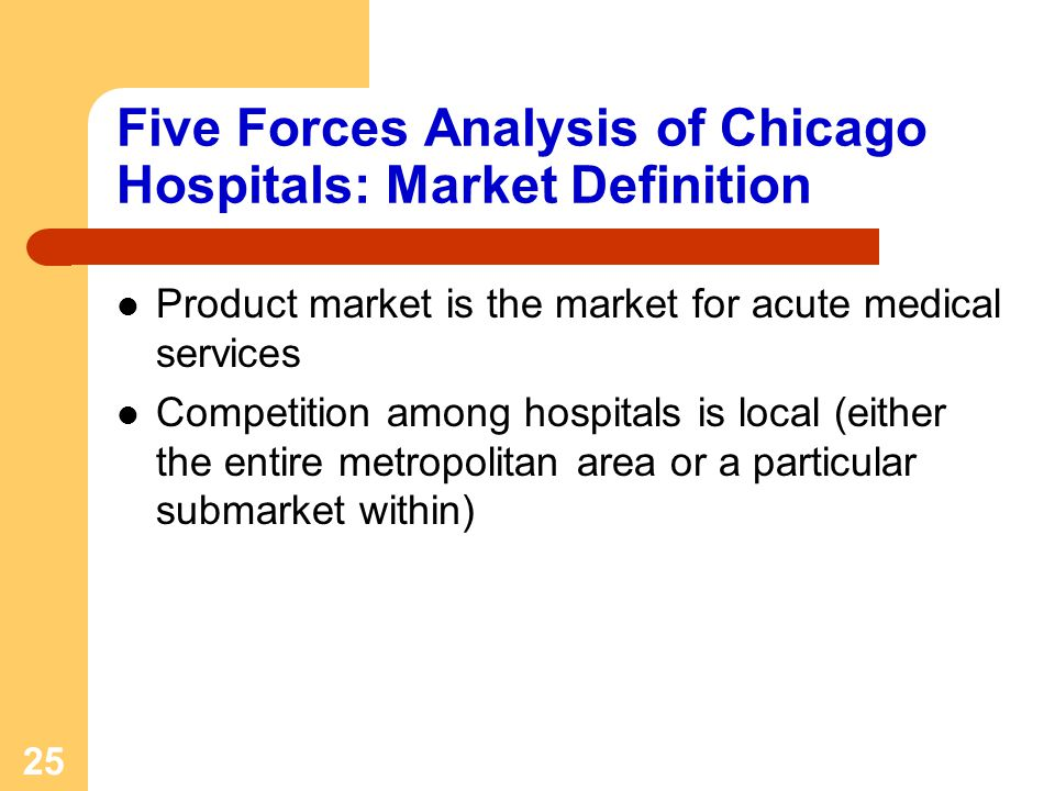 25 Five Forces Analysis of Chicago Hospitals: Market Definition Product market is the market for acute medical services Competition among hospitals is local (either the entire metropolitan area or a particular submarket within)