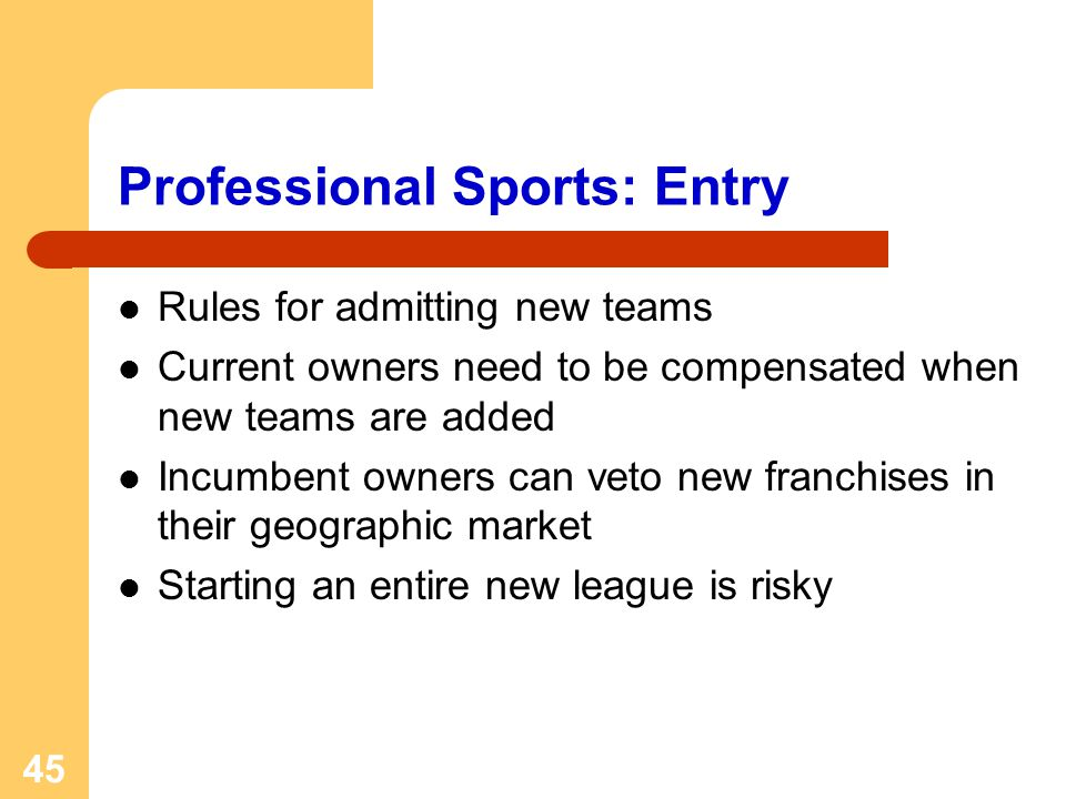 45 Professional Sports: Entry Rules for admitting new teams Current owners need to be compensated when new teams are added Incumbent owners can veto new franchises in their geographic market Starting an entire new league is risky