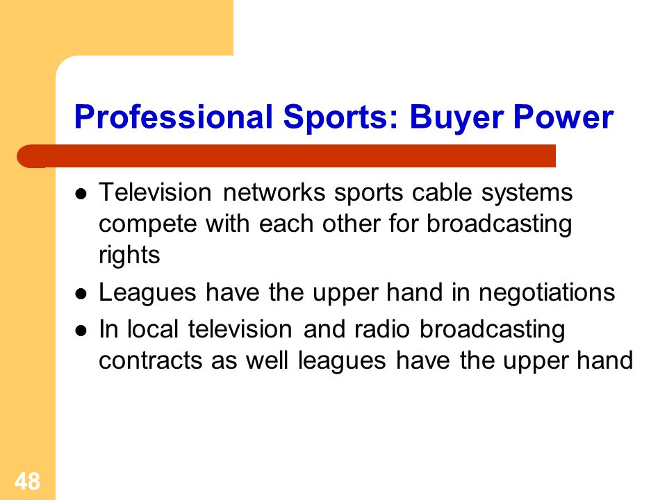 48 Professional Sports: Buyer Power Television networks sports cable systems compete with each other for broadcasting rights Leagues have the upper ha
