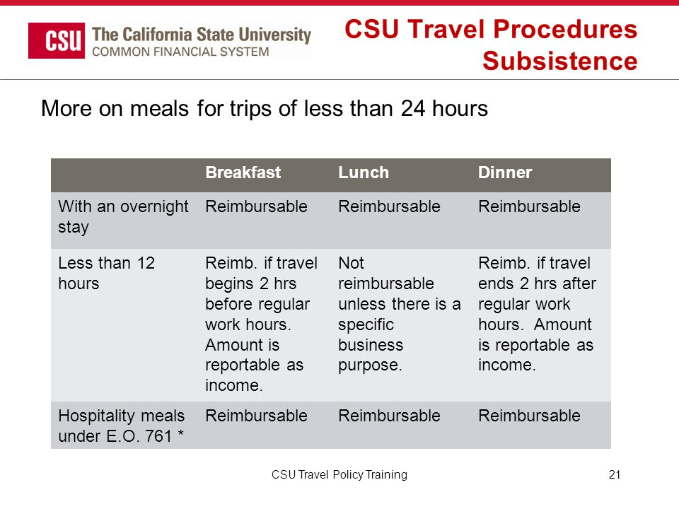 CSU Travel Procedures Subsistence More on meals for trips of less than 24 hours CSU Travel Policy Training21 BreakfastLunchDinner With an overnight st