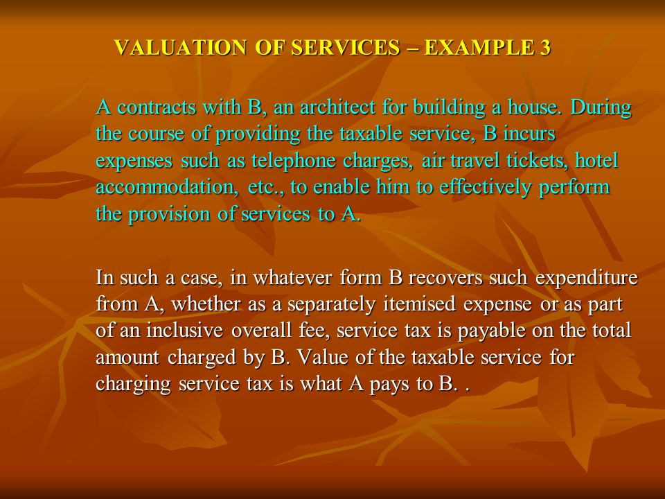 VALUATION OF SERVICES – EXAMPLE 3 A contracts with B, an architect for building a house.