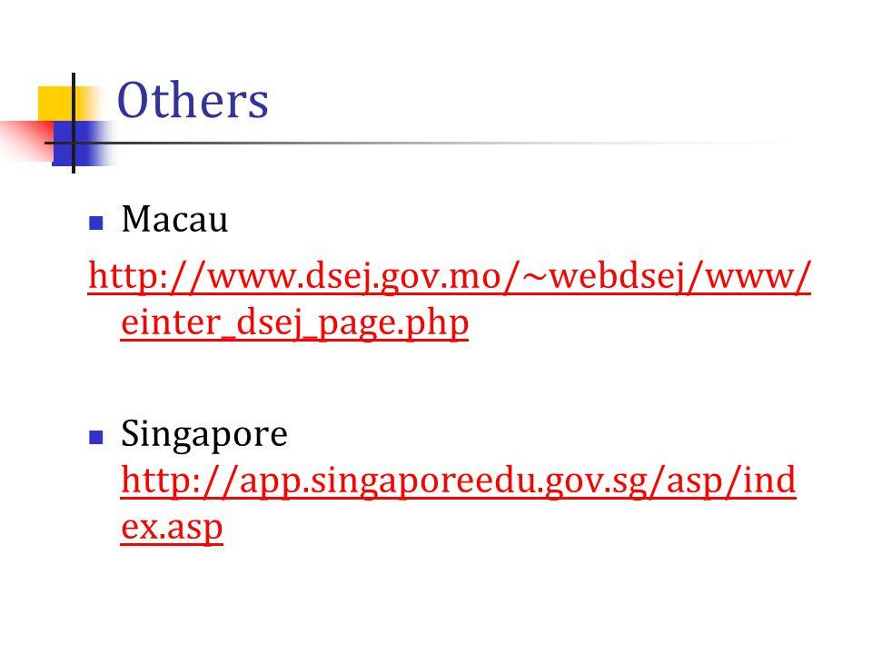 Others Macau http://www.dsej.gov.mo/~webdsej/www/ einter_dsej_page.php Singapore http://app.singaporeedu.gov.sg/asp/ind ex.asp http://app.singaporeedu